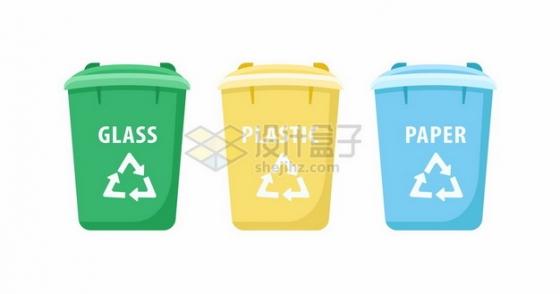 三种颜色的垃圾桶垃圾分类476635png矢量图片素材