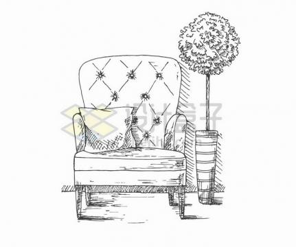 手绘素描风格放着靠枕的单人沙发和旁边的盆栽png图片免抠矢量素材