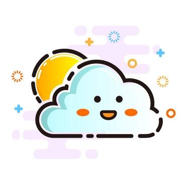 MBE风格卡通云朵和太阳天气预报多云图案图片免抠素材