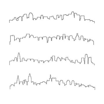 4款城市建筑天际线线条轮廓图片免抠矢量图素材