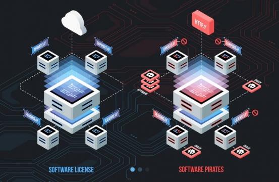 2.5D风格云计算服务器架构图片免抠矢量素材