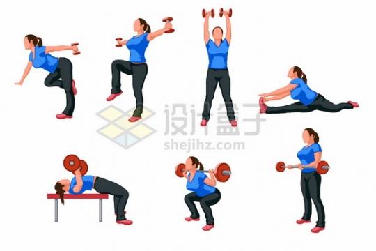 举哑铃一字马杠铃等运动的健身女孩774150png矢量图片素材