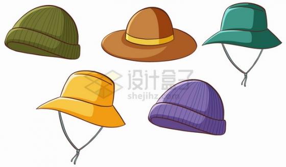 5款太阳帽棉帽子休闲帽png图片素材