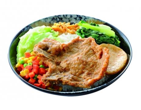 一碗美味加了青菜的大排饭png图片免抠素材