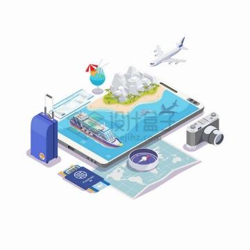 2.5D风格手机上的海岛旅游游轮飞机行李箱护照地图照相机等png图片免抠矢量素材