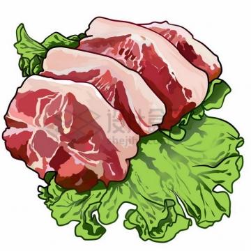 生菜叶上的五花肉彩绘插画png免抠图片素材