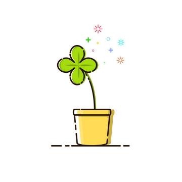 MBE风格花盆里的可爱绿色植物图片免抠素材