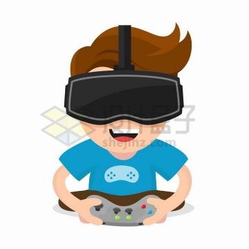 卡通男孩戴着VR眼镜正在打游戏png图片免抠矢量素材