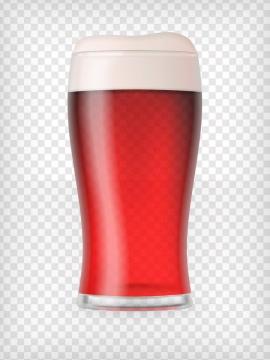 一杯冒着气泡的红色啤酒杯图片免抠素材