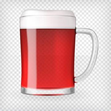一杯冒着气泡的带把手的啤酒杯图片免抠素材