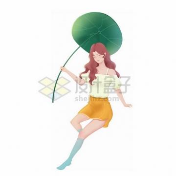 美丽的女孩拿着一个荷叶当雨伞png免抠图片素材