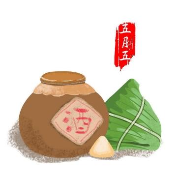 手绘风格五月五端午节粽子和酒图片免扣素材