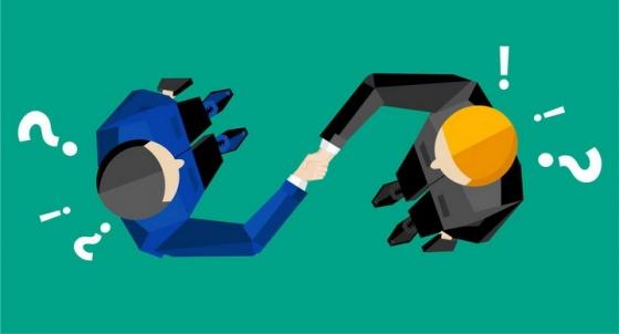 俯视视角的两个商务人士正在握手png图片免抠矢量素材