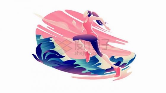 插画风格正在跑步运动的美女png图片免抠矢量素材