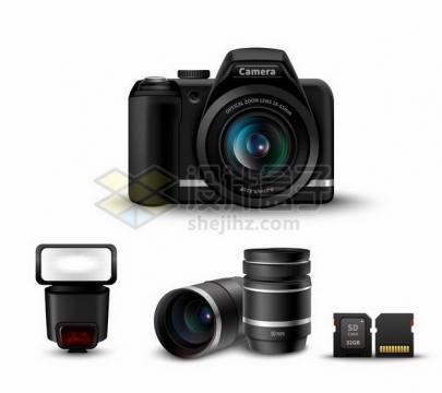 佳能数码单反相机和闪光灯长焦镜头SD卡等数码相机配件704470png矢量图片素材