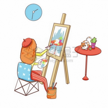 卡通女孩正在绘画803272png免抠图片素材