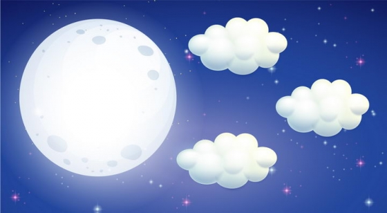白色卡通月亮和云朵png图片免抠eps矢量素材