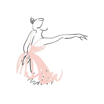 手绘涂鸦线条风格粉色芭蕾舞上半身展示效果免抠矢量图片素材