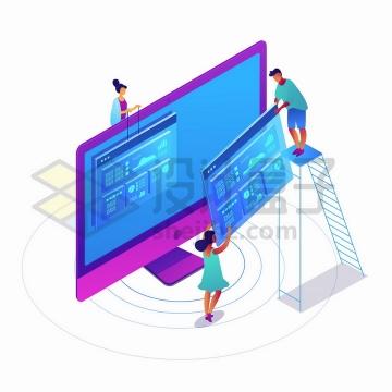2.5D风格抽象爬梯子装配网页象征了网页制作网站建设png图片免抠矢量素材