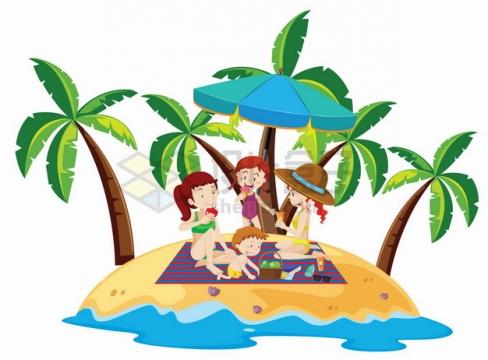 卡通孩子们在热带海岛沙滩上玩耍旅游png图片素材