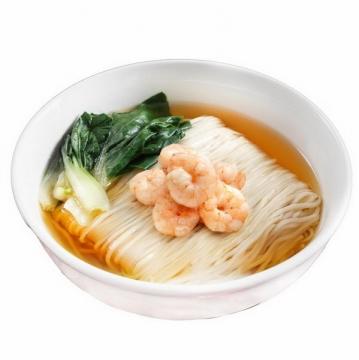 一碗美味的加了青菜的虾仁面美食面条png图片免抠素材