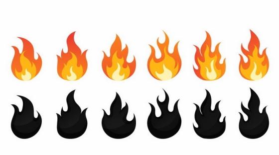 6款红色和黑色火焰火苗标志图案图片png免抠素材