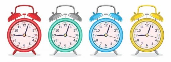 4种不同颜色的闹钟图片免抠矢量素材