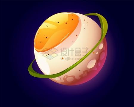 抽象卡通鸡蛋星球露出蛋黄png图片免抠eps矢量素材