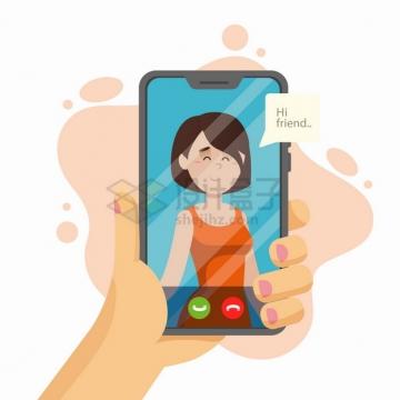 手机视频聊天扁平插画png图片素材