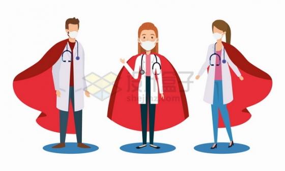 红色披风的三个卡通医生英雄png图片素材