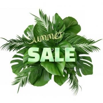 热带树叶绿色叶子装饰标题背景395052png图片素材