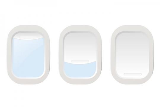 3款白色飞机舷窗窗户图片免抠素材