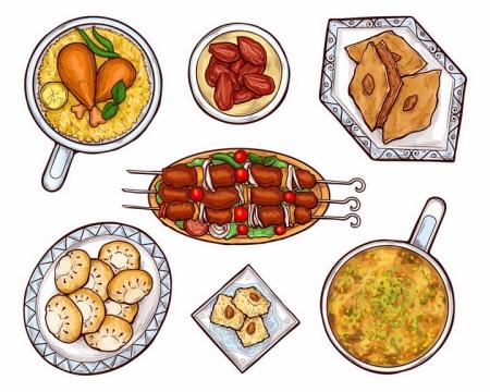 手绘风格俯视视角的鸡腿烤肉串香菇等美味美食png图片免抠eps矢量素材