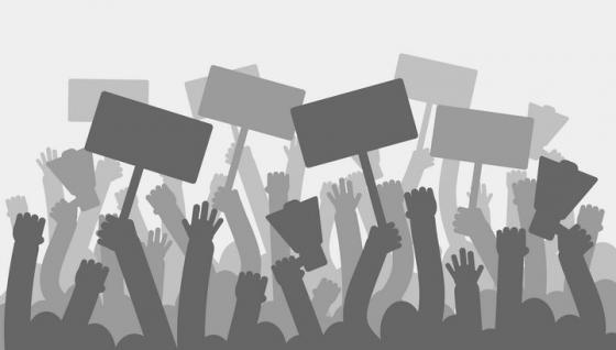 抗议的人群剪影图片免抠矢量素材