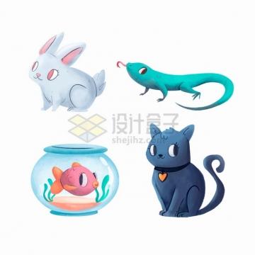 怪异的卡通小兔子蜥蜴金鱼和猫咪各种宠物png图片素材