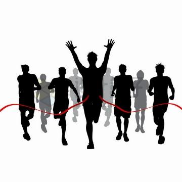 撞线跑到终点的跑步运动员人群剪影png图片免抠矢量素材