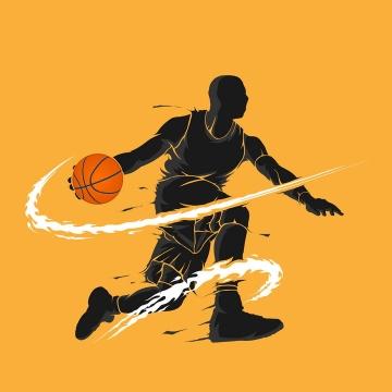 黑色篮球运动员打篮球炫丽剪影png图片免抠矢量素材