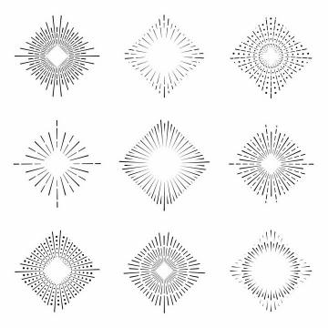 9款正方形点线结合风格放射线烟花线条图案png图片免抠矢量素材