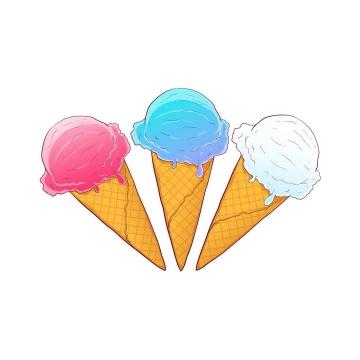 三个不同颜色的手绘风格冰淇淋冷饮图片免抠素材