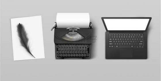 从羽毛笔到打字机到笔记本电脑文字工具的进化png图片免抠矢量素材