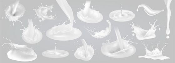 各种倒入牛奶液滴乳白色液体效果png图片免抠矢量素材