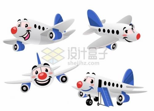 可爱的卡通客机飞机png图片素材