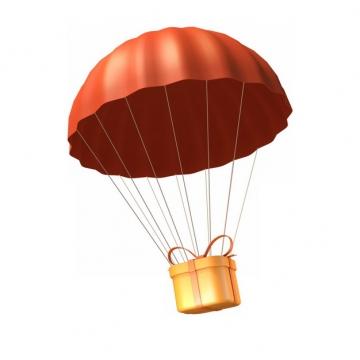 红色降落伞吊着金色礼物908414png图片素材