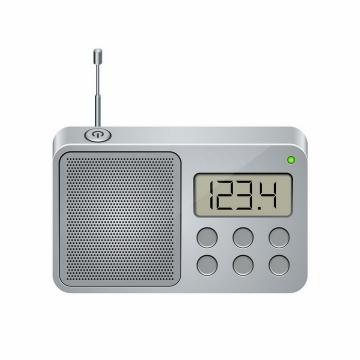 银色的液晶显示功能调频无线电收音机png图片免抠矢量素材