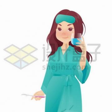 早上刚起床穿着睡衣的卡通女孩正在漱口刷牙png图片免抠矢量素材