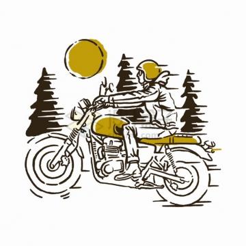 在森林中穿梭的摩托车手绘插画png图片素材