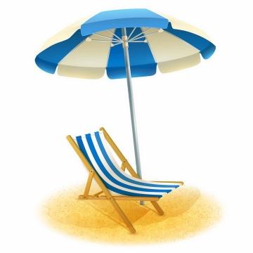 蓝白色遮阳伞和沙滩躺椅海边旅游png图片免抠eps矢量素材