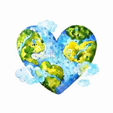 心形地球模型世界地图水彩插画png图片素材