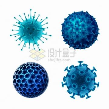 4款蓝色3D立体新型冠状病毒png图片素材