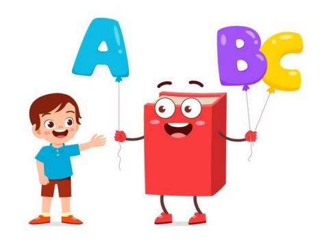 卡通儿童和书本拿着字母气球快乐学英语png图片免抠矢量素材